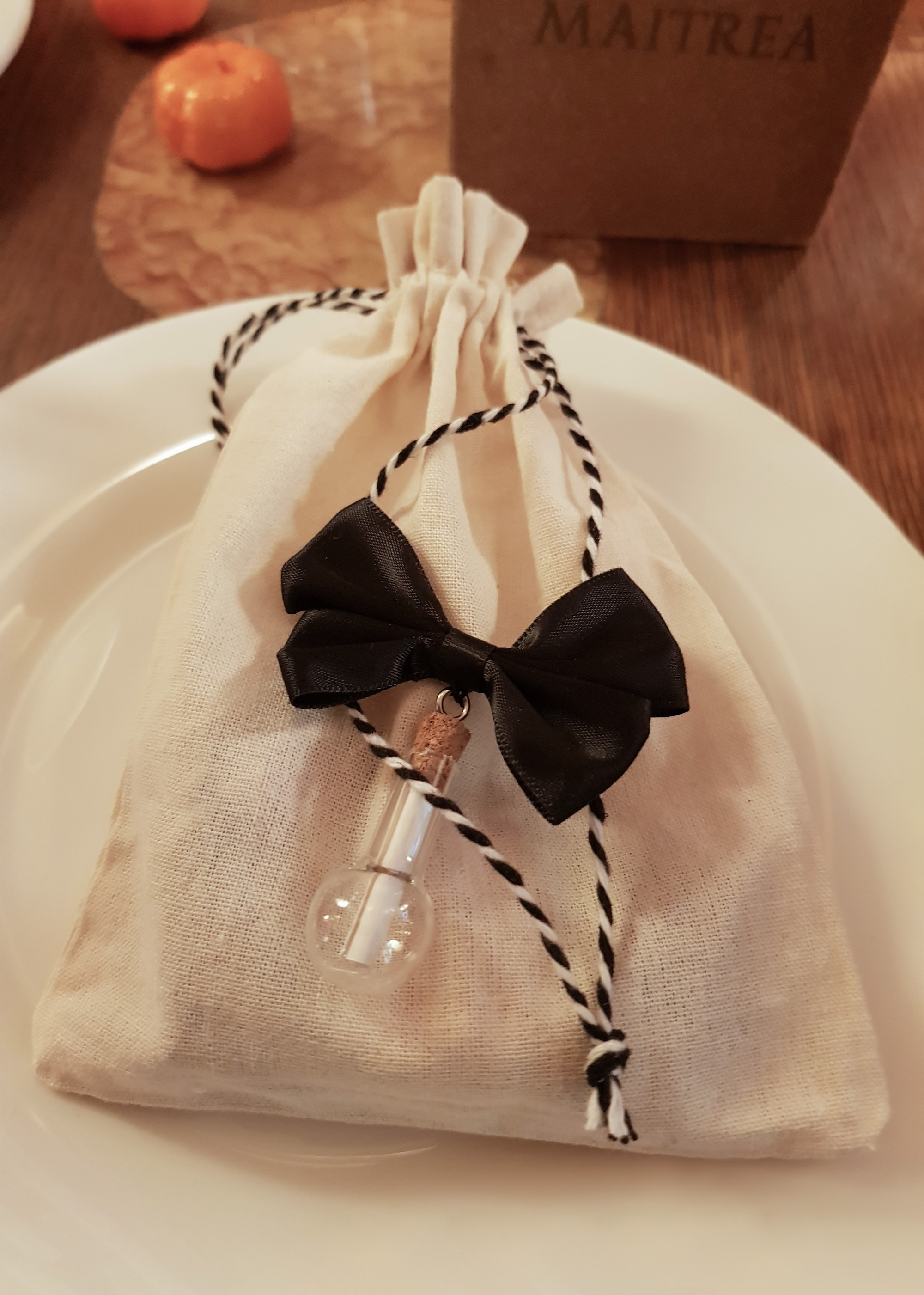 Wedding gift bag with a potion bottle containing a personalized note
