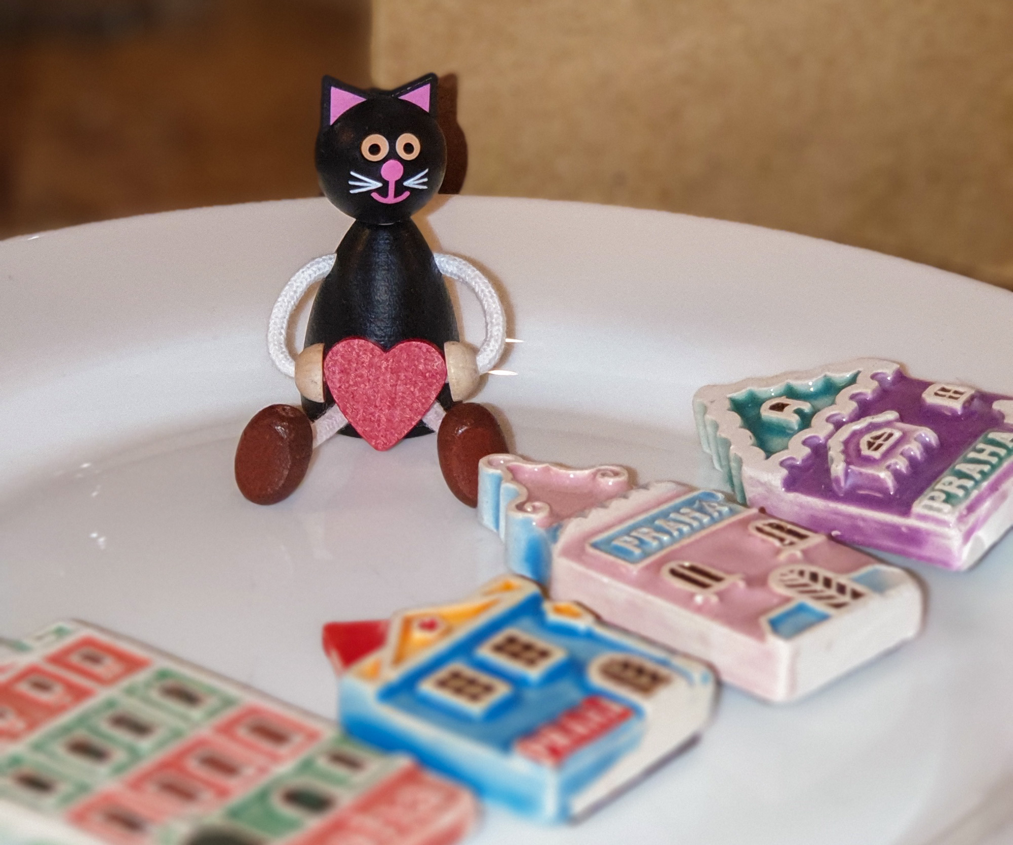 Wooden black cat and Prague inspired house miniatures